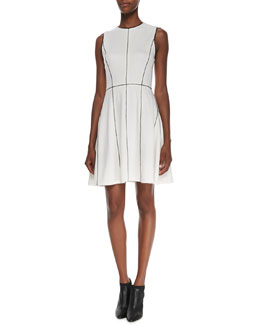 Alice + Olivia Contrast-Trim Flared-Skirt Dress