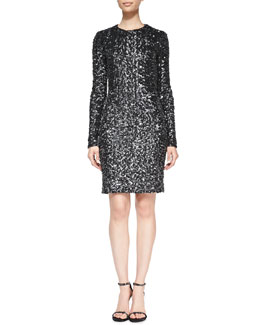 Rachel Zoe Adrienne Long-Sleeve Sequined Dress
