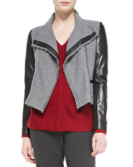 Vince Leather-Sleeve Boucle Jacket