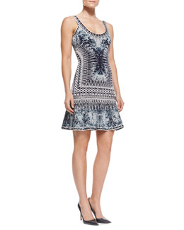 Herve Leger Ivana Contrast-Trim Graphic Dress
