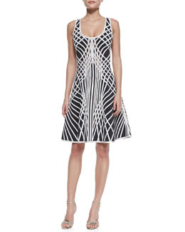 Herve Leger Eva Optic Crisscross-Print Sleeveless Dress