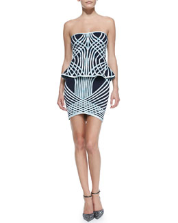 Herve Leger Annette Optic Crisscross-Print Strapless Bandage Dress