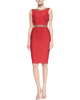 Herve Leger Ardell Chain-Detail Bandage Dress