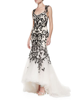 Monique Lhuillier Embroidered Lace Mermaid Gown