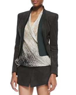 Halston Heritage Ultrasuede Shawl-Collar Open Jacket