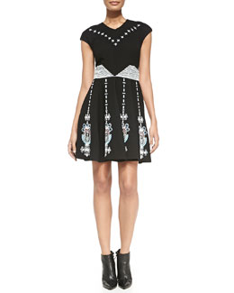 Elle Sasson Barbara Mixed-Embroidery Wool Dress