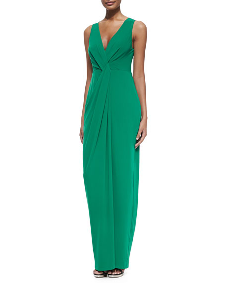 6be836a251a Halston Heritage Twist-Front Sleeveless Jersey Gown