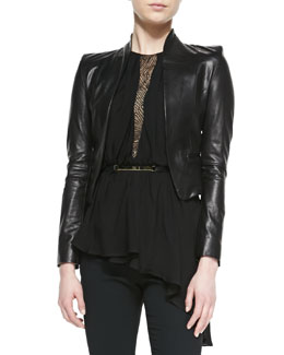 Halston Heritage Cropped Leather Jacket