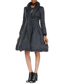Halston Heritage Nylon Princess Puffer Coat