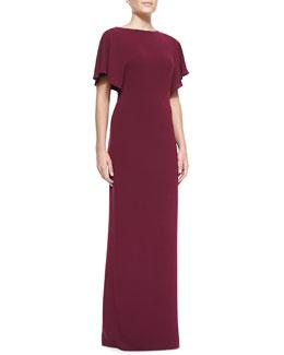 Halston Heritage Jersey Metal-Detail Short-Sleeved Gown