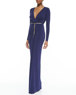 Halston Heritage Surplice-Neck Long-Sleeve Gown