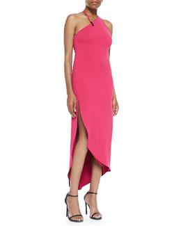 Halston Heritage Asymmetric-Neck Fitted Halter Dress