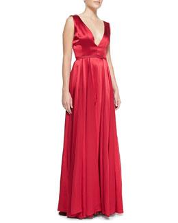Halston Heritage Flowy-Skirt V-Neck Gown