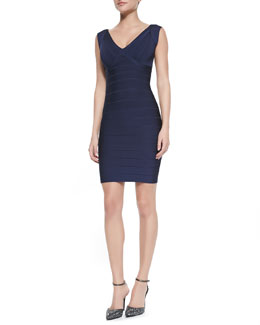 Herve Leger V-Neck Low-Back Fitted Bandage Dress