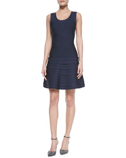 Herve Leger Scalloped-Edge Flounce Bandage Dress