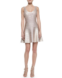 Herve Leger Flounce Skirt Bandage Dress, Rose Gold Combo