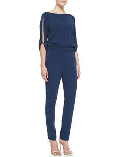 Halston Heritage Knit Slit-Sleeve Jumpsuit