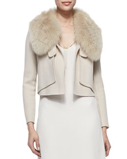 Halston Heritage Fox Fur-Collar Cropped Jacket, Dusty Peach
