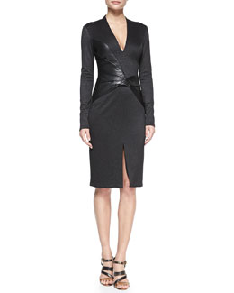 Halston Heritage Long-Sleeve Leather-Panel Plunge-Neck Dress