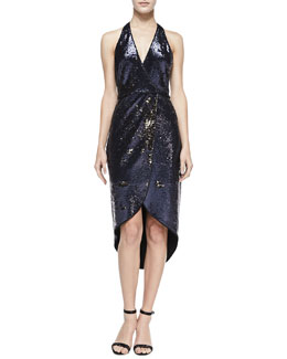 Halston Heritage Sequined Halter-Neck Dress