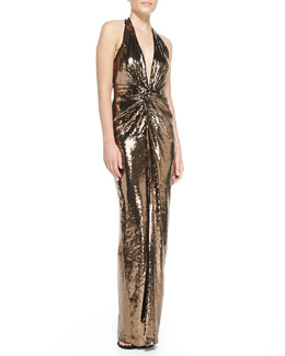 Halston Heritage Metallic Sequined V-Neck Halter Gown, Bronze