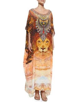 Camilla Lion-Print Beaded Silk Caftan Coverup
