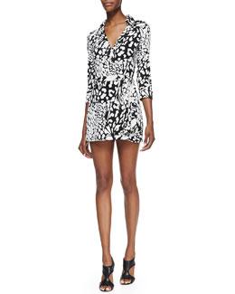 Diane von Furstenberg Celeste Leopard-Print Wraparound Short Jumpsuit
