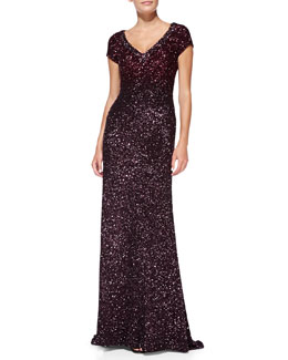Pamella Roland Cap-Sleeve Beaded Silk Gown