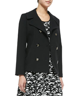 Milly Bonded Crepe Pea Coat