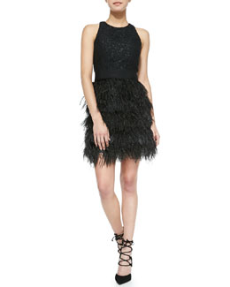 Milly Blair Sleeveless Feather-Skirt Dress