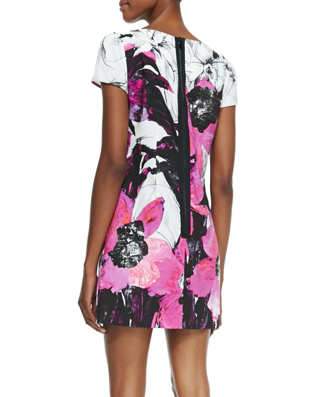 Chloe Short-Sleeve Winter Orchid-Print Dress
