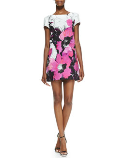 Milly Chloe Short-Sleeve Winter Orchid-Print Dress