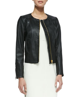 Milly Front-Zip Leather Jacket