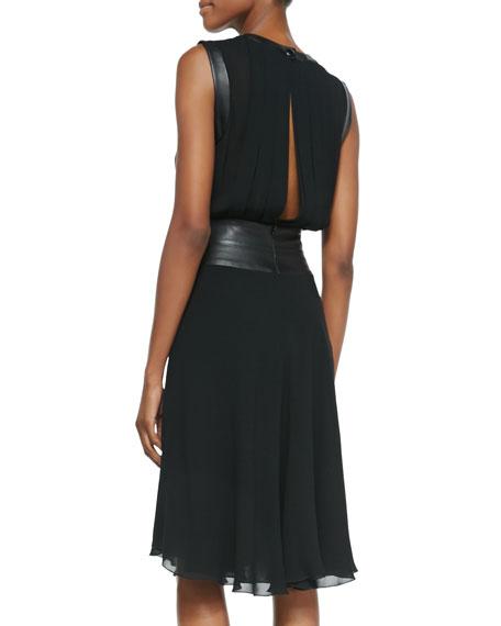 Sleeveless Pleated Leather Bodice Dress