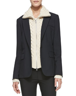 Veronica Beard Classic Suiting One-Button Jacket