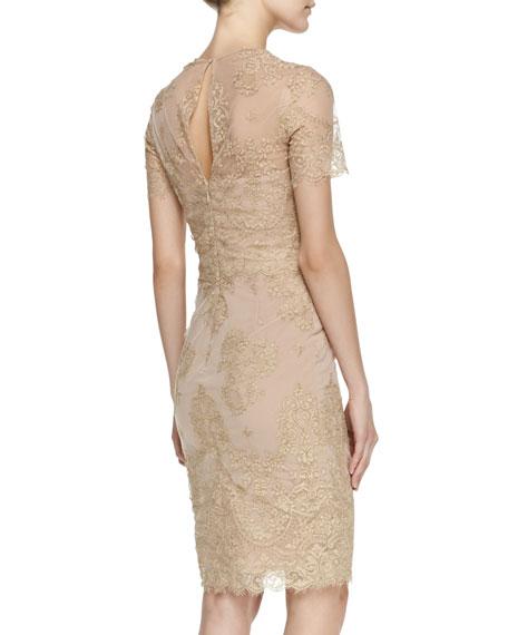 Short-Sleeve Metallic Lace Cocktail Dress