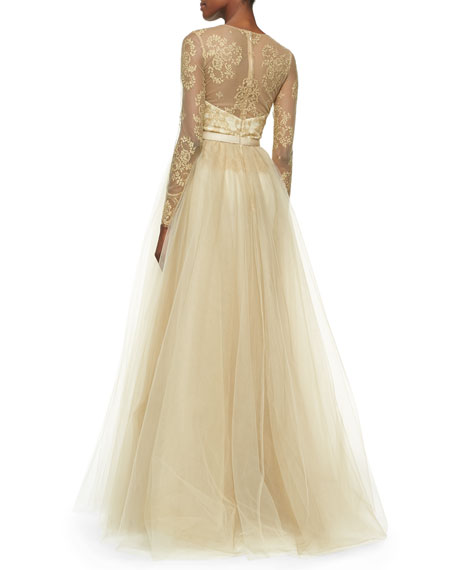 Lace-Overlay Ball Gown with Tulle Skirt