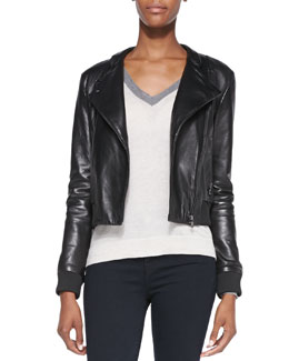 J Brand Ready to Wear Devon Knit-Trim Leather Jacket