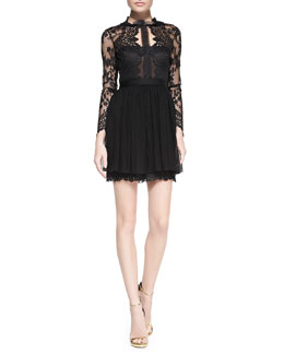 Notte by Marchesa Long-Sleeve Lace Illusion Cocktail Dress