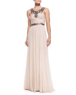 Notte by Marchesa Sleeveless Chiffon Beaded-Neck/Waist Gown