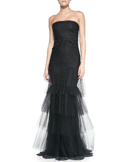 Notte by Marchesa Strapless Beaded-Waist Tulle-Skirt Gown
