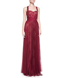 Notte by Marchesa Lace-Overlay Tulle Halter Gown