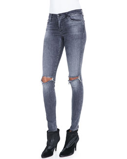 J Brand Jeans Mid-Rise Distressed Skinny Jeans, Nemesis