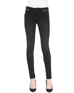 J Brand Jeans Leah Skinny Zip-Waist Jeans, Graphite