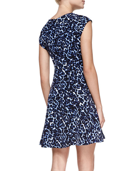 Lynx-Print Flared V-Neck Dress