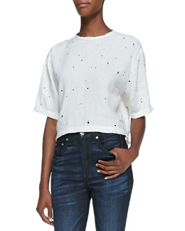 rag & bone/JEAN Cropped Half-Sleeve Top, White Splatter