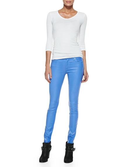 Gummy Skinny Denim Jeans, Coated Blue Topaz