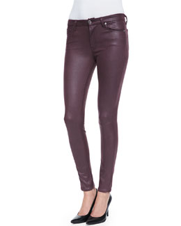 7 For All Mankind Leather-Like Skinny Pants, Burgundy Crackle