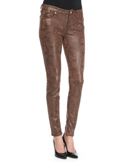 7 For All Mankind Snake-Print Coated Skinny Jeans, Chocolate