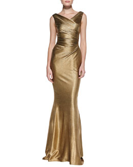 Talbot Runhof Draped Pleated-Bodice Metallic Gown